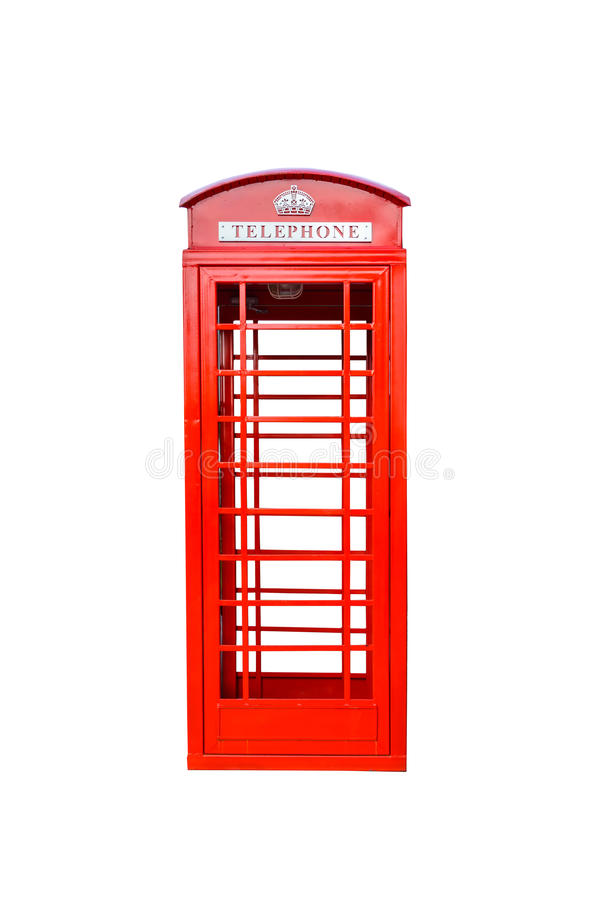 Cabine de téléphone rouge britannique classique d'isolement image libre de droits