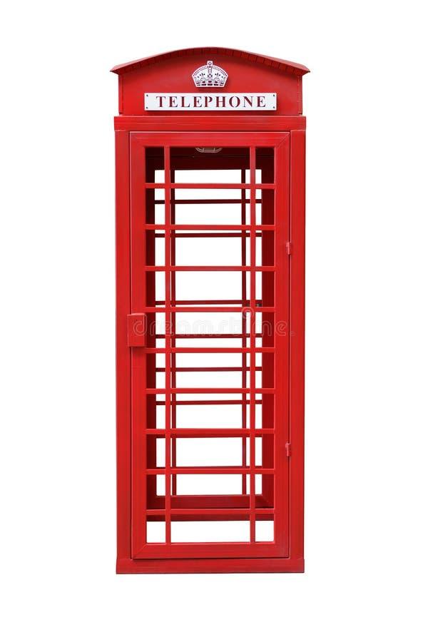 Cabine de téléphone rouge britannique classique d'isolement sur le blanc images libres de droits
