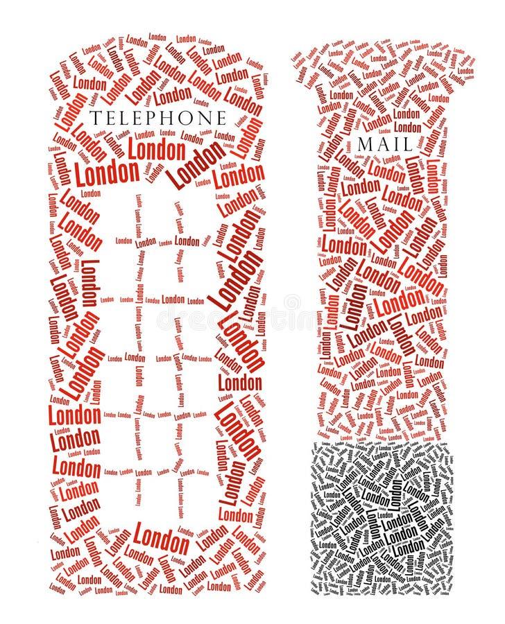 Cabine de telefone de Londres e caixa do borne ilustração do vetor