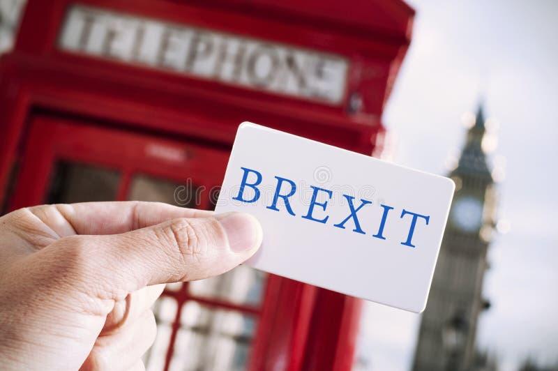 Cabine de telefone e texto vermelhos Brexit imagem de stock royalty free