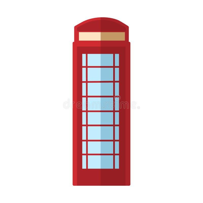 Cabine de telefone de Londres Cabine vermelha, caixa inglesa da rua do telefone ilustração royalty free