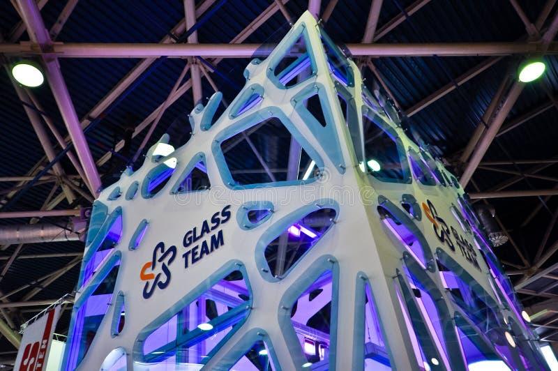 Cabine de vidro da equipe em MosBuild 2012 foto de stock royalty free