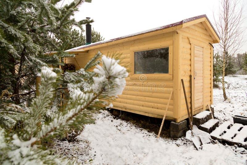 Cabine de Woden Sauna com loja da lenha imagens de stock royalty free