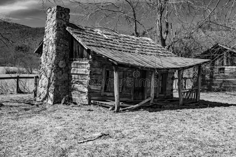 Cabine di ceppo in bianco e nero di immagine per lo schiavo Labor fotografie stock