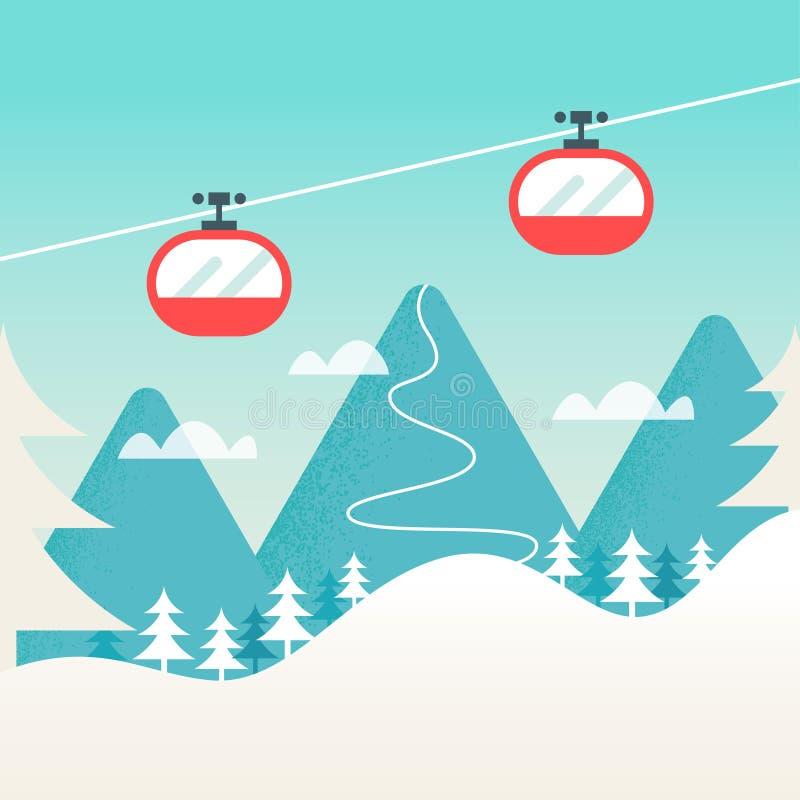 Cabine di funivia e paesaggio della montagna di Snowy illustrazione di stock