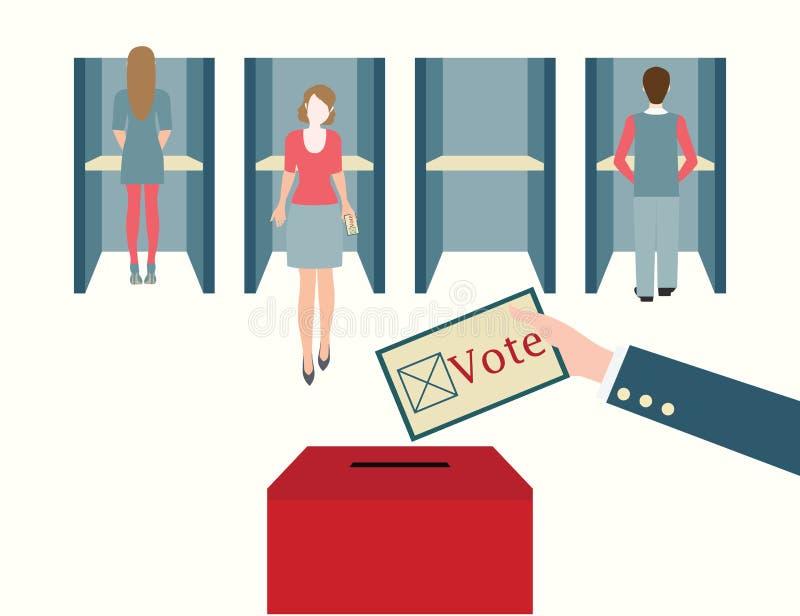 Cabine di voto con gli uomini e le donne che fondono i loro voti ad uno scrutinio illustrazione vettoriale