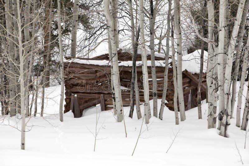 Cabine do fantasma na neve foto de stock royalty free