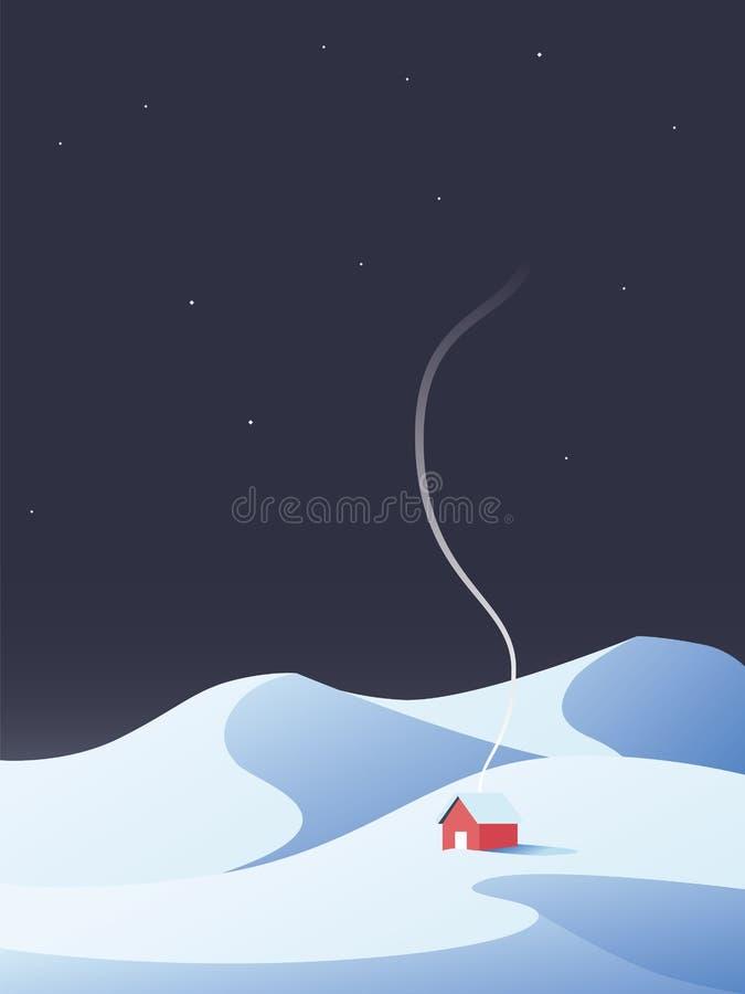 Cabine do inverno, chalé, casa no cenário nevado da natureza das montanhas O símbolo do inverno relaxa, recua ilustração royalty free