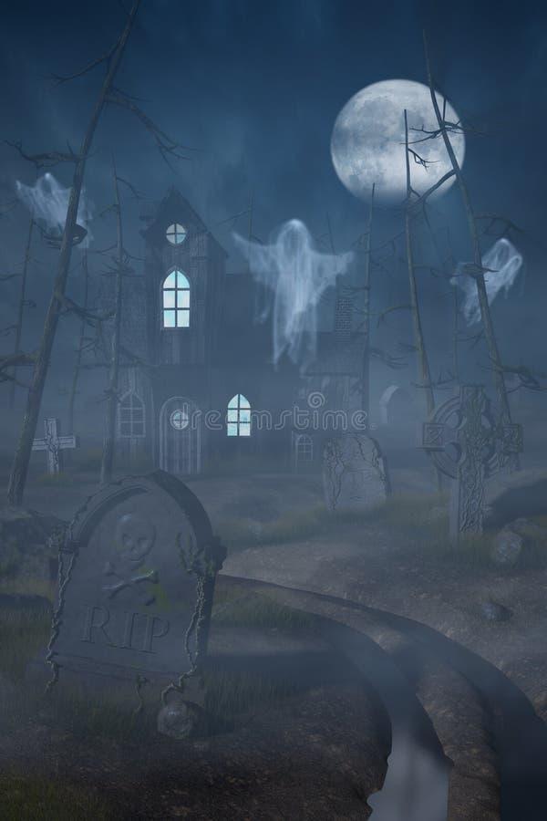 Cabine e um cemitério em uma floresta assustador na noite ilustração royalty free