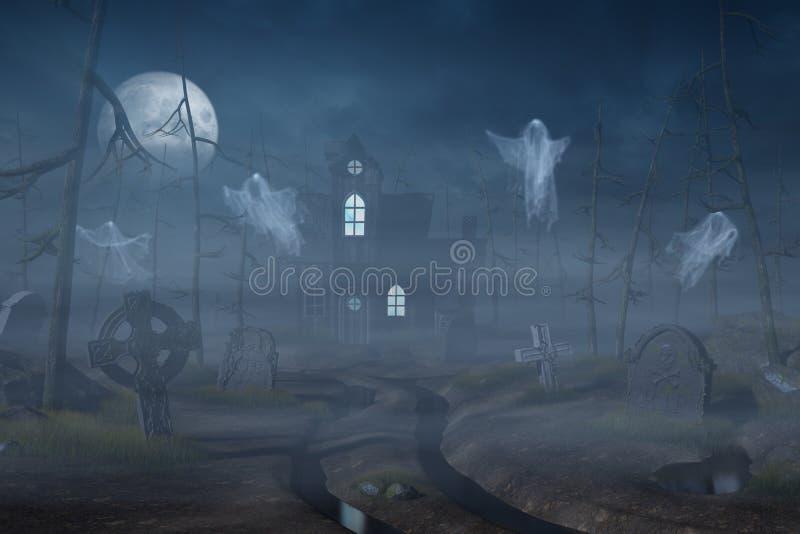 Cabine e um cemitério em uma floresta assustador na noite ilustração stock