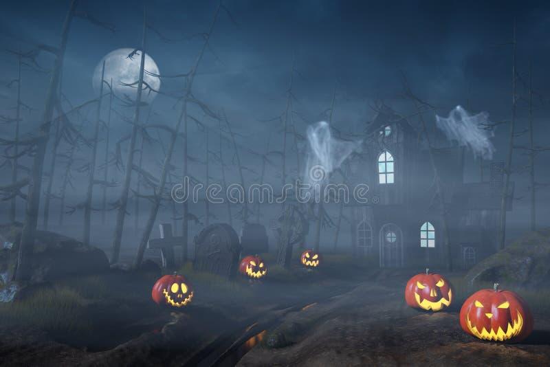 Cabine em uma floresta de Dia das Bruxas com as lanternas da abóbora na noite ilustração do vetor