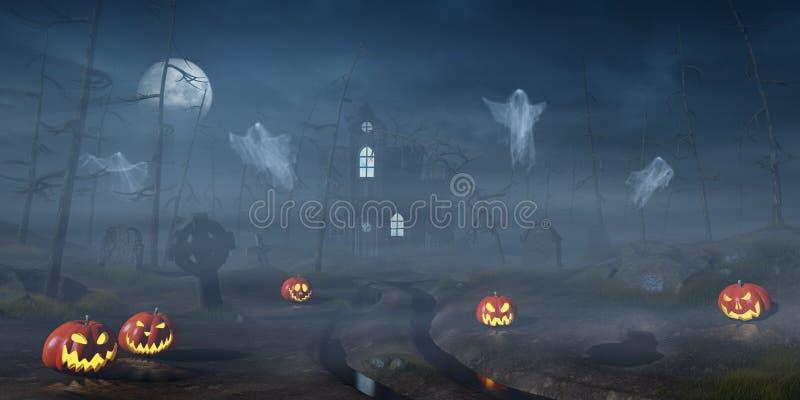 Cabine em uma floresta de Dia das Bruxas com as lanternas da abóbora na noite ilustração stock