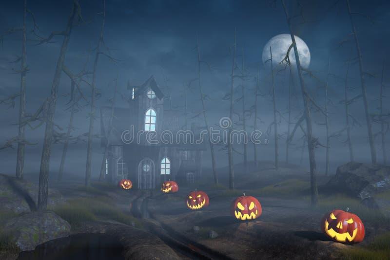 Cabine em uma floresta de Dia das Bruxas com as lanternas da abóbora na noite ilustração royalty free