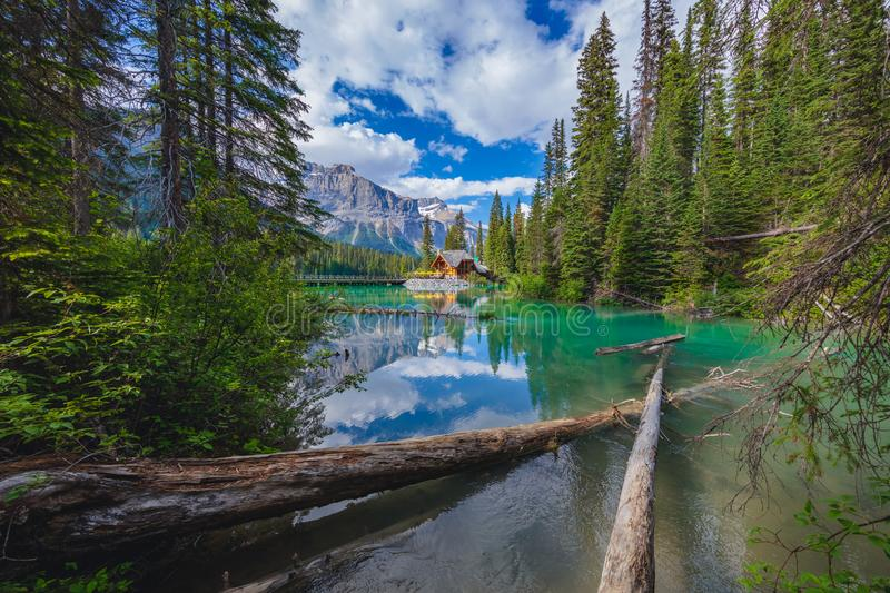 Cabine in Emerald Lake in Canadees Rocky Mountains stock afbeelding