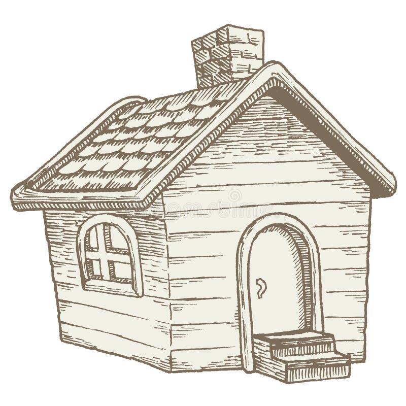 Cabine in het hout: gezellig ouderwets houten buitenhuis royalty-vrije illustratie