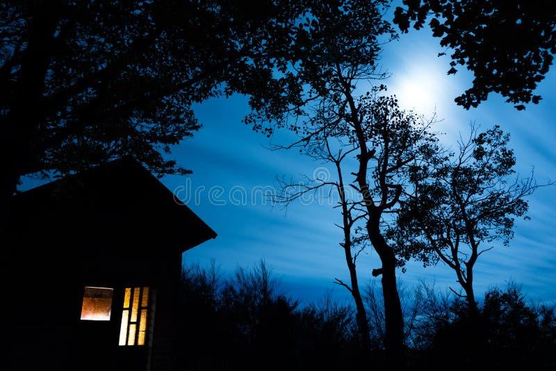 Cabine in het Hout met Maanlicht wordt aangestoken dat royalty-vrije stock afbeelding