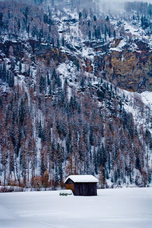 Cabine nas montanhas nevado fotografia de stock royalty free