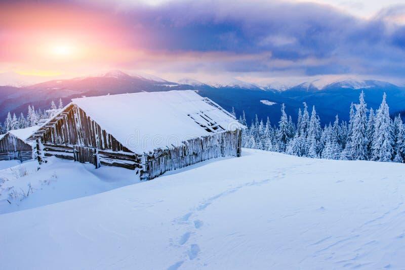 Cabine nas montanhas no inverno fotos de stock
