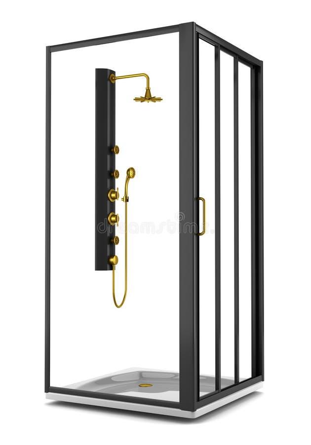 Cabine noire de douche d'isolement sur le blanc illustration stock