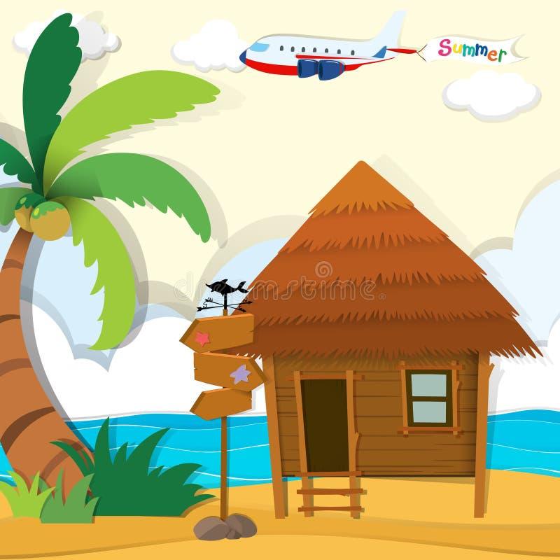 Cabine op het strand royalty-vrije illustratie