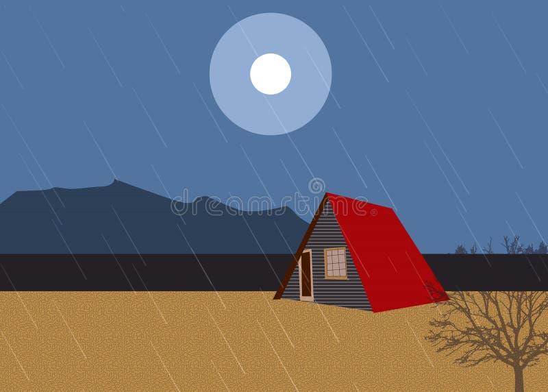 Cabine op het strand in de regen vector illustratie