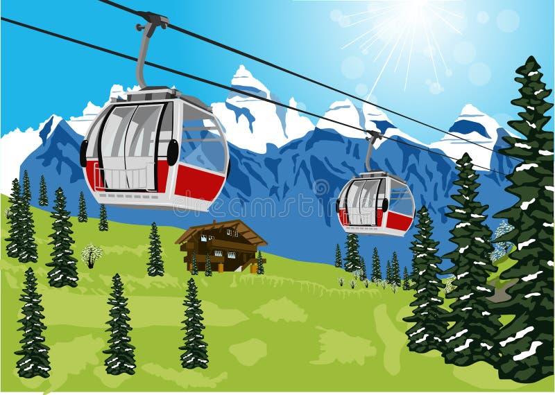 Cabine ou carro do cabo do elevador de esqui ilustração stock
