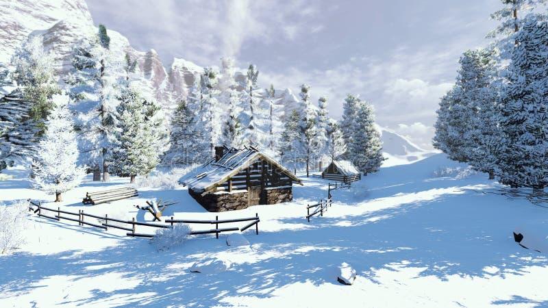 Cabine pequena acolhedor no montanhas nevado fotos de stock royalty free