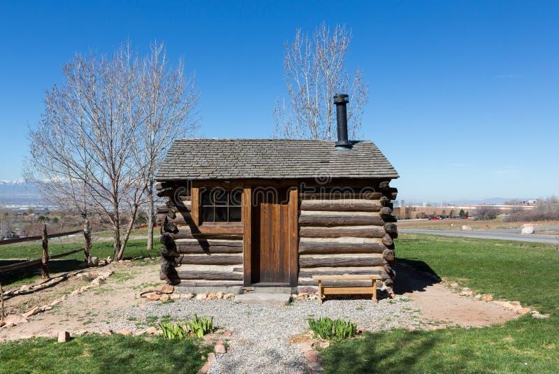 Cabine pioneira ocidental do Estados Unidos foto de stock