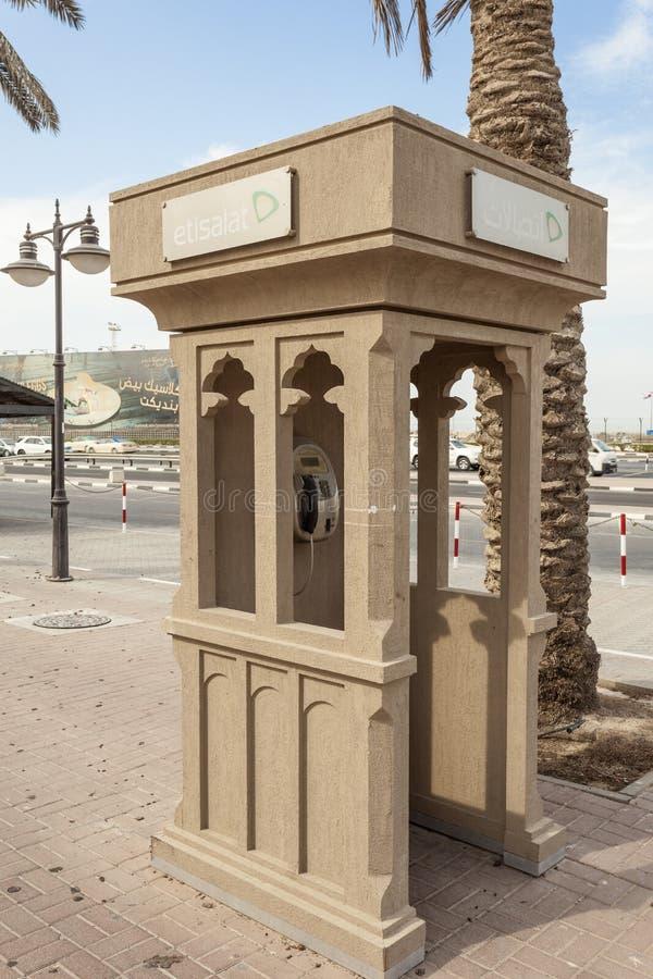 Cabine téléphonique à Dubaï images libres de droits