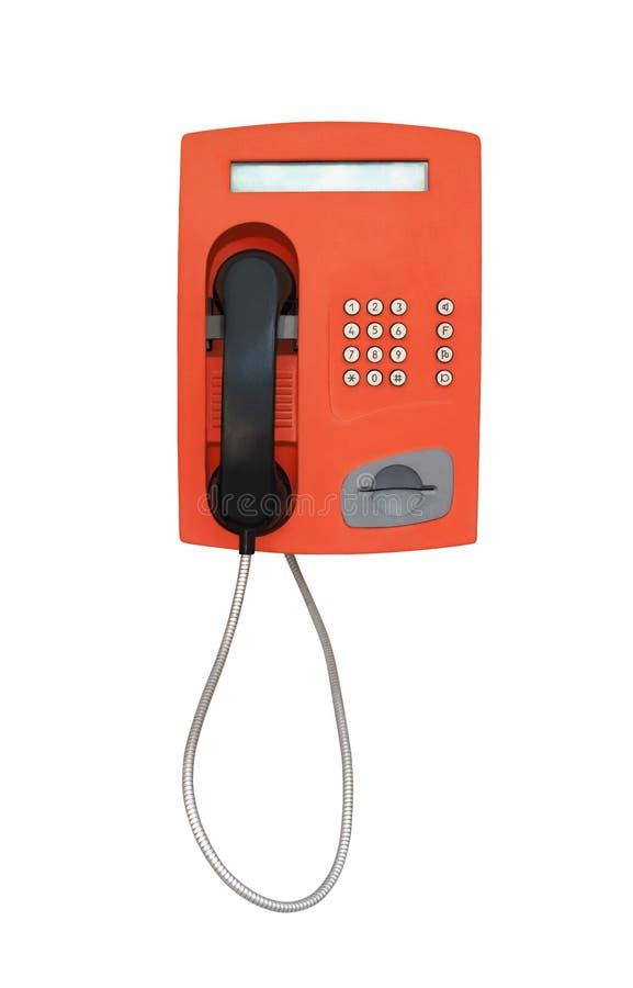 Cabine téléphonique rouge de cru d'isolement sur le blanc images libres de droits