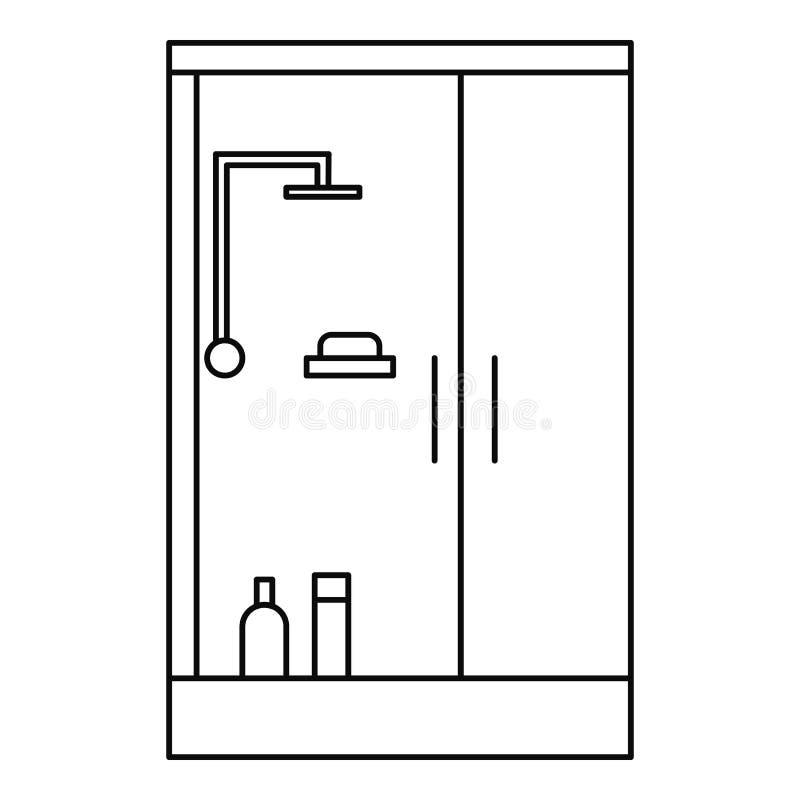 Cabinepictogram van het douchebad, overzichtsstijl stock illustratie