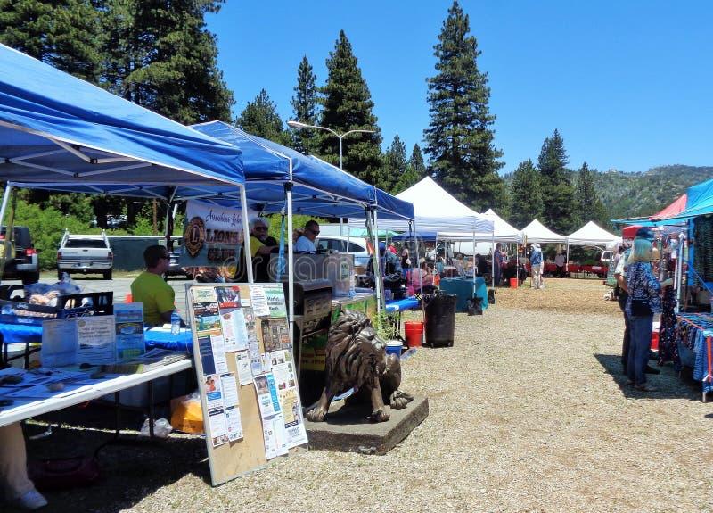 Cabines d'affichage au marché d'un agriculteur, ressorts fonctionnants, CA, San Bernardino Mountains, Etats-Unis images stock