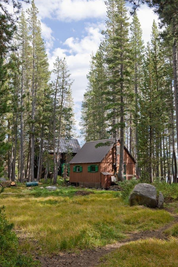 Cabines en bois dans la forêt image stock
