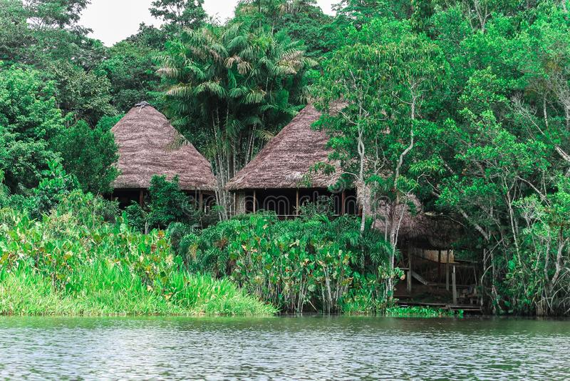 Cabines le long de la rivière en Amazone photos stock