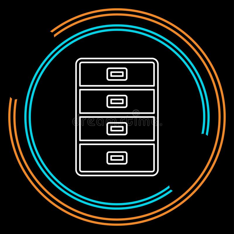 Cabinet archive icon - vector file drawer. Office storage - business business. Thin line pictogram - outline stroke stock illustration