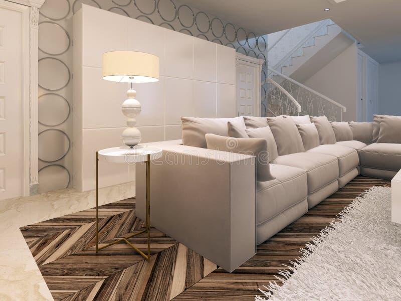 Cabinet blanc de grande conception dans le salon moderne illustration de vecteur