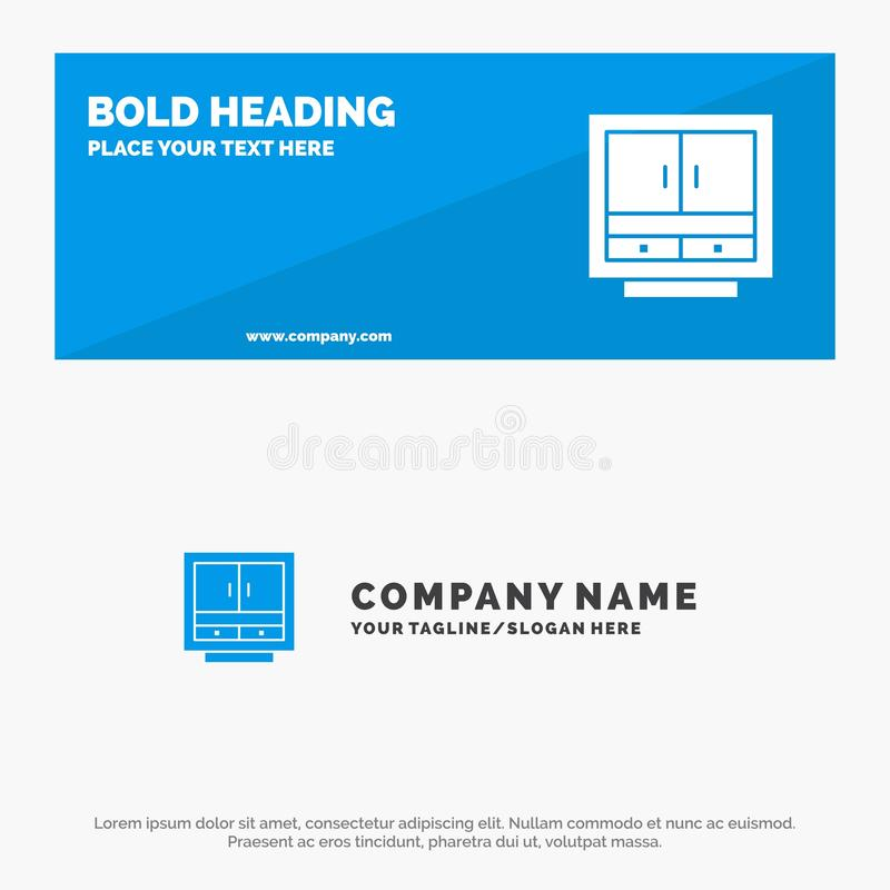 Cabinet, Business, Drawer, Files, Furniture, Office, Storage SOlid Icon Website Banner and Business Logo Template vector illustration