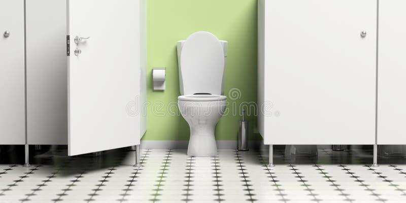 Cabinet d'aisance avec la porte ouverte et la cuvette des toilettes blanche illustration 3D illustration libre de droits