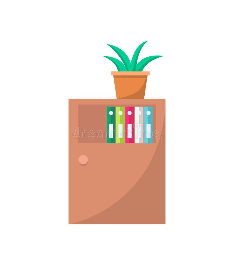 Cabinet with Door Cupboard with Drawers or Shelves. Cabinet with door, cupboard with drawers or shelves for storing or displaying folders. Green plant in pot vector illustration