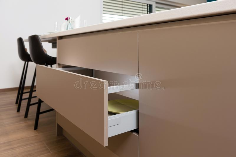 Cabinet drawer in kitchen royalty free stock photo
