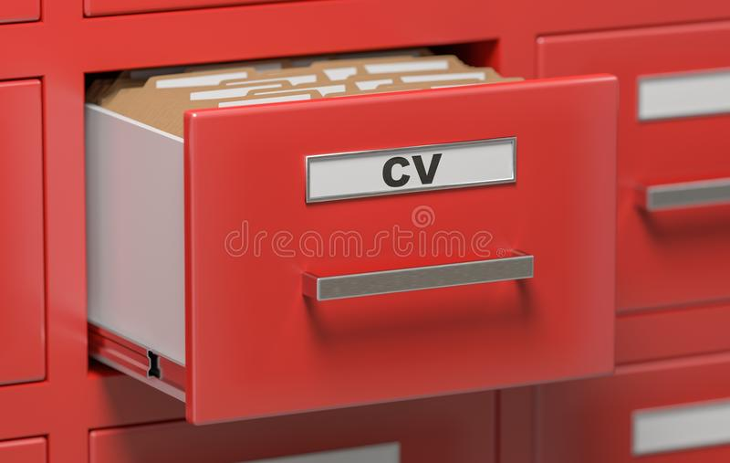 Cabinet full of CV curriculum vitae documents and files. 3D rendered illustration.  stock illustration