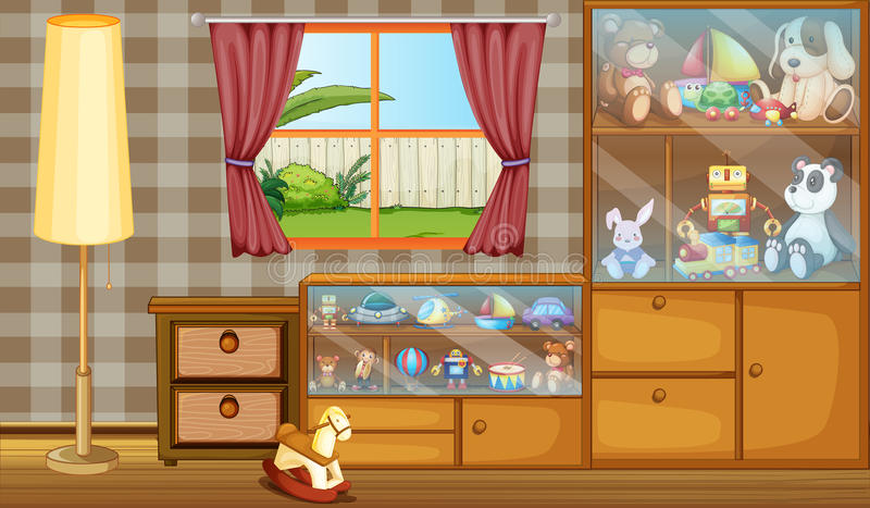 A cabinet full of toys. Illustration of a cabinet full of toys vector illustration