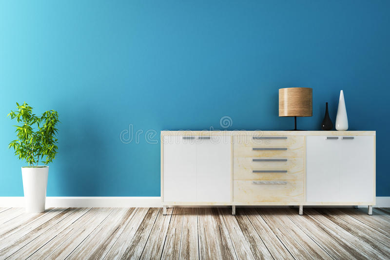 Cabinet and furniture of interior decorated. 3d rendering stock illustration