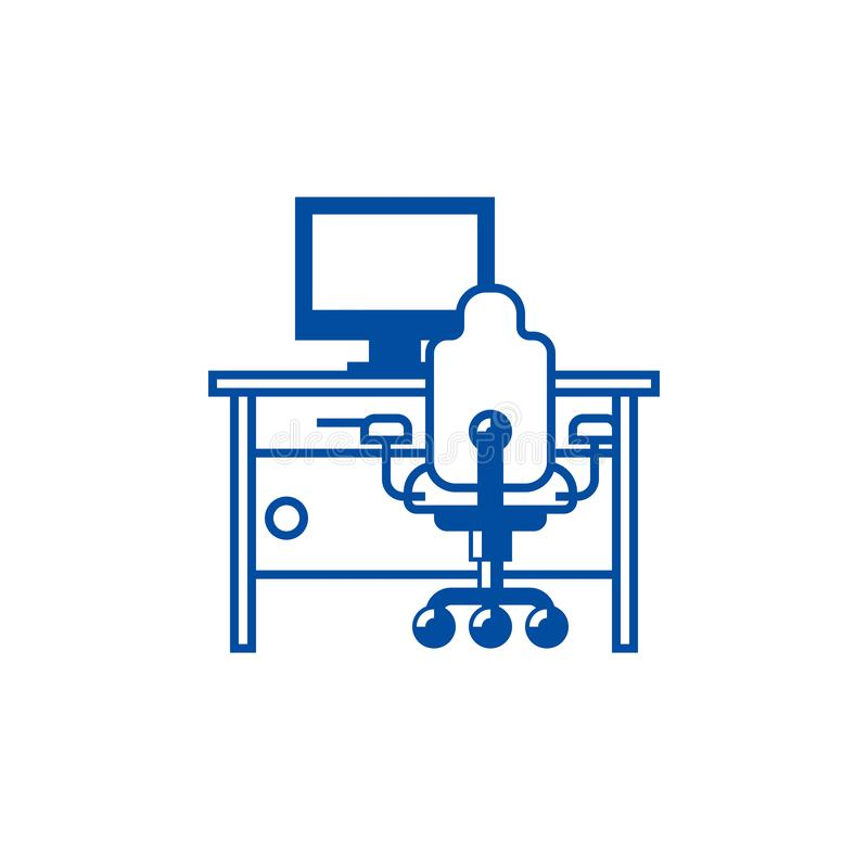 Cabinet,home desk with pc and office chair line icon concept. Cabinet,home desk with pc and office chair flat vector vector illustration