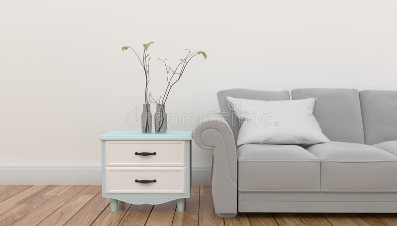 Cabinet with plant and pillow on gray sofa in front of empty white background wall .3D rendering royalty free illustration