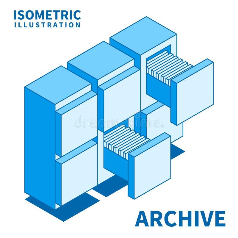 Cabinete de archivo, administración de empresas stock de ilustración