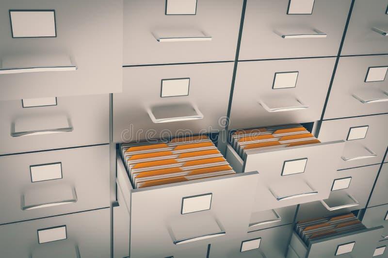 Cabinete de archivo con las carpetas amarillas en cajones abiertos ilustración del vector