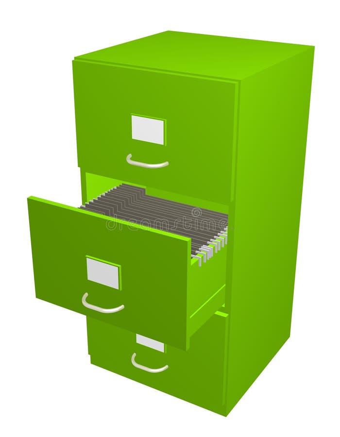 Cabinete de archivo verde ilustración del vector