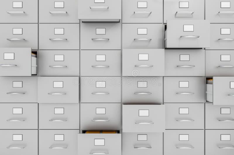 Cabinetes de archivo con los cajones abiertos - concepto de la recopilación de datos libre illustration