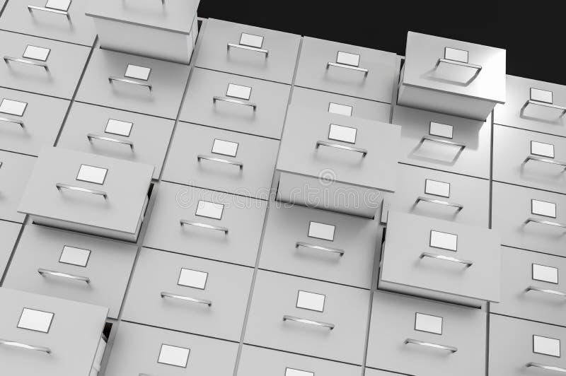 Cabinetes de archivo con los cajones abiertos - concepto de la recopilación de datos ilustración del vector